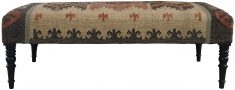 Block & Chisel multi-coloured wool and Jute upholstered bench