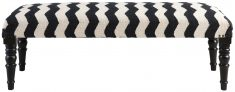 Block & Chisel black and white zig zag print upholstered bench