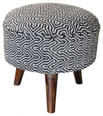 Block & Chisel round black and white cotton upholstered stool