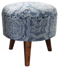 Block & Chisel round blue and white cotton upholstered stool