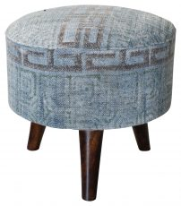 Block & Chisel round blue print cotton upholstered stool