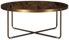 Block & Chisel round marble top coffee table with stainless steel base