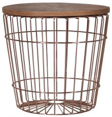 Block & Chisel round new oak side table with rose gold stainless steel base