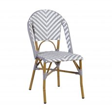 Block & Chisel grey and white PE rattan dining chair with Aluminium Bamboo frame