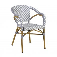 Grey and white synthetic arm chair