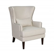 wingback chair in speckled beige