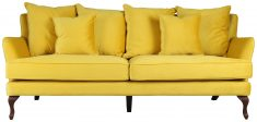 Block & Chisel yellow upholstered 3 seater sofa