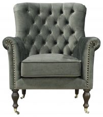 Block & Chisel grey velvet upholstered button tufted occasional chair