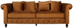 Block & Chisel brown velvet upholstered 3 seater sofa