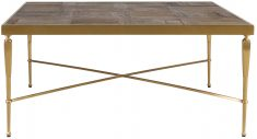 Block & Chisel square recycled elm coffee table with brushed stainless steel