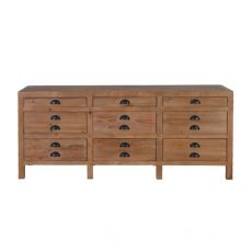 elm wood sideboard with 9 drawers
