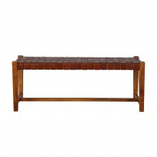 Block & Chisel teak wood bench with brown leather strap seat