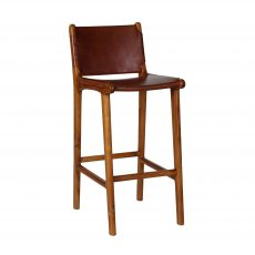 teak frame barstool with leather back and seat