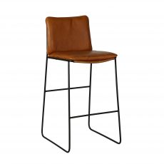 metal frame barstool with leather seat and back