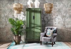 green distressed painted cupboard
