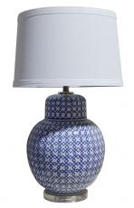Block & Chisel table lamp with blue and white ceramic base