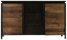 Block & Chisel Old Elm sideboard with metal frame and doors