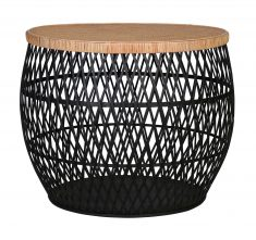 Talita Side Table - Large - Black rattan weaved base with brown bamboo top