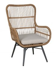 Brown plastic rattan outdoor armchair
