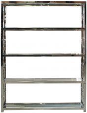Block & Chisel 4 tier stainless steel & glass bookshelf