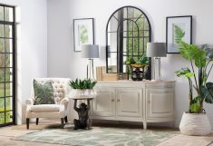 4 door sideboard with legs in vanilla white