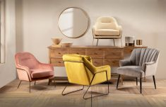 Linen upholstered chair with gold metal frame