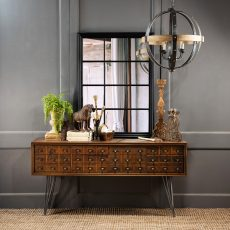 Block & Chisel console elm wood metal base with draws