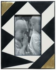 Block & Chisel black and white abstract photo frame with gold foil