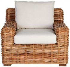 Block & Chisel rattan armchair with linen cushions