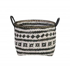 Black and white basket with handles
