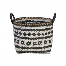 Black and white square basket with handles