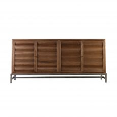 Block & Chisel oak 4 door sideboard with iron base