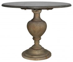 Block & Chisel round wooden side table with blue stone top