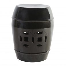 black ceramic stool with cut out detail