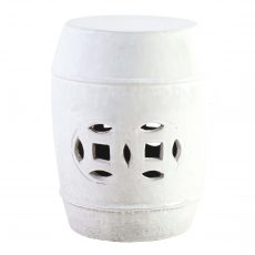 White ceramic stool with cut out detail