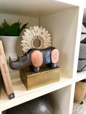 Block & Chisel aluminium rhino bookend