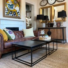 metal and bronze nesting table