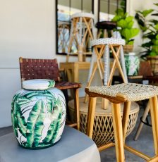 seagrass woven seat barstool with teak frame