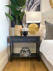 2 drawer console table with bottom shelf