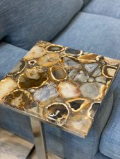 Block & Chisel square side table with agate top and iron base