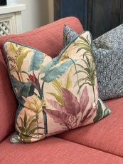 hillhouse scatter cushion foliage on pink background