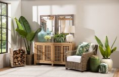 Elm sideboard with 4 doors with lattice detail