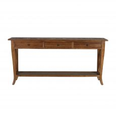 Elm wood console with 3 drawers and bottom shelf