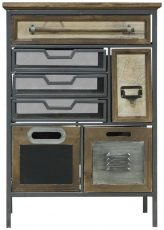 Block & Chisel fir wood cabinet with metal frame