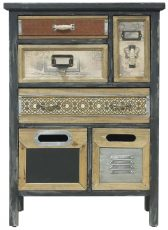 Block & Chisel fir wood cabinet with metal detail