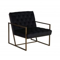 Black Deep buttoned velvet chair with gold metal frame
