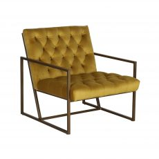 Gold buttoned occasional chair with gold metal frame