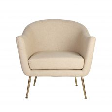 linen tub chair with metal legs