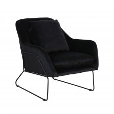 black upholstered occasional chair with black metal frame