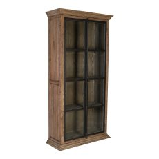 Black bookcase with glass panel doors
